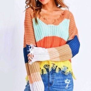 Color Block Frayed Knit Sweater 💕